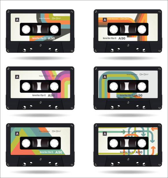 ilustrações, clipart, desenhos animados e ícones de fita vintage retrô isolado coleção fundo branco - fita cassete