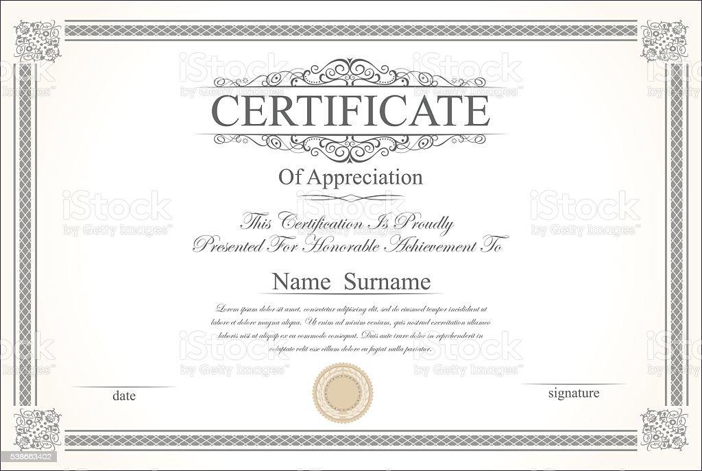 Retro Vintage Zertifikat Oder Diplomvorlage Stock Vektor Art Und