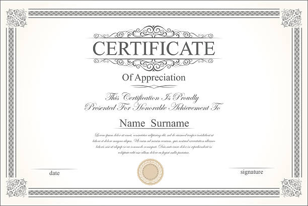 Retro vintage certificate or diploma template vector art illustration