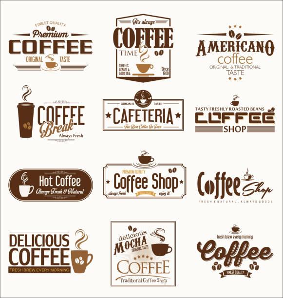 レトロなビンテージ コーヒー デザイン コレクション ベクトル図 - バリスタ点のイラスト素材/クリップアート素材/マンガ素材/アイコン素材