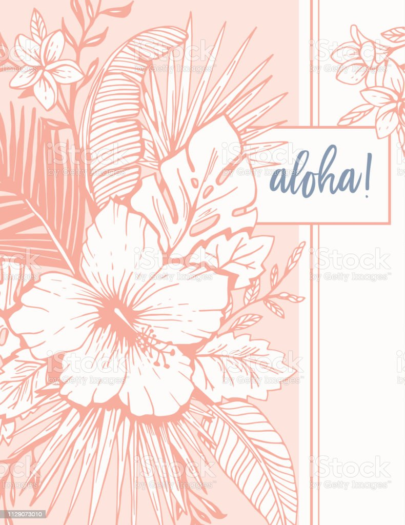 Retro Vintage Coral Tropical Floral Exotic Foliage And Hibiscus
