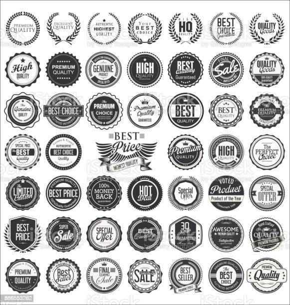 Retro vintage design quality badges vector collection