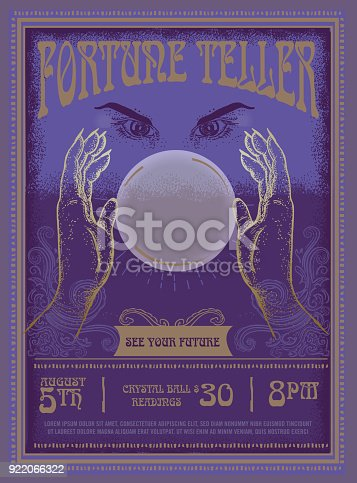 Retro vintage Fortune Teller poster advertisement design template with mystical eyes and crystal ball . Sample placement text included.