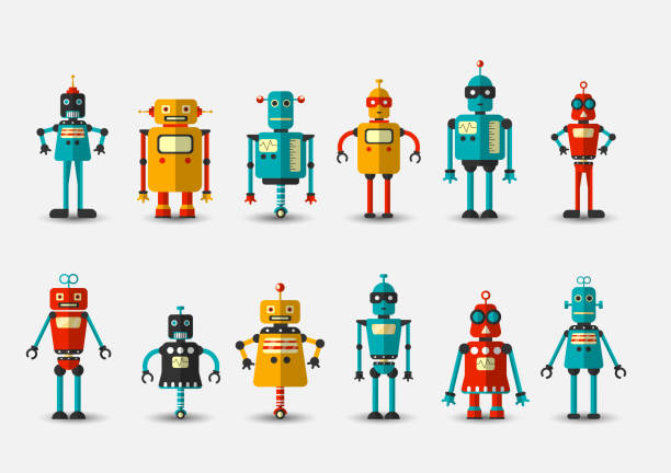 ilustraciones, imágenes clip art, dibujos animados e iconos de stock de robot retro vintage vector divertido establece icono en estilo plano aislado sobre fondo gris. ilustración vintage de colección de iconos de chatbot plana. conjunto de iconos de dibujos animados cute retro robot, bot de chat vintage set gris aislado en - robot