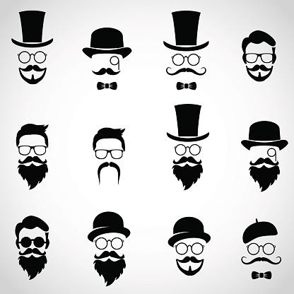 Retro, vintage gentlemen. Collection of diverse, male faces.