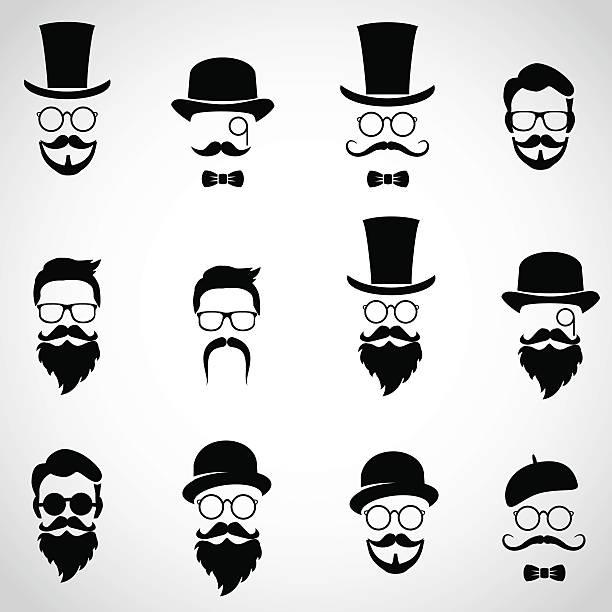 Retro, vintage gentlemen. Collection of diverse, male faces. vector art illustration