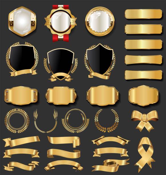 Retro vintage golden badges and labels collection Retro vintage golden badges and labels collection gold colored stock illustrations