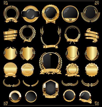 Retro vintage golden laurel wreaths and labels collection