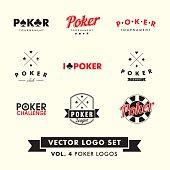 Retro Vintage Hipster Poker Vector Logo Set