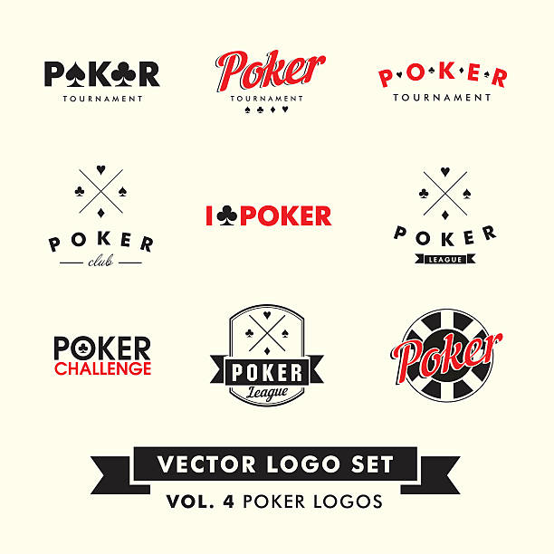 Retro Vintage Hipster Poker Vector Logo Set Retro Vintage Hipster Poker Vector Logo Set  poker stock illustrations