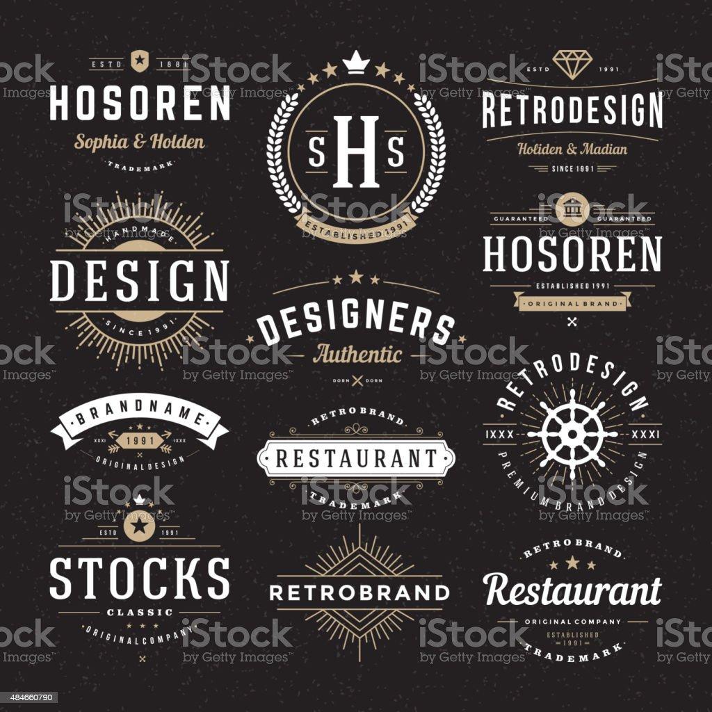 Retro Vintage Insignias oder Logotypes Vektor-design-Elemente-set – Vektorgrafik