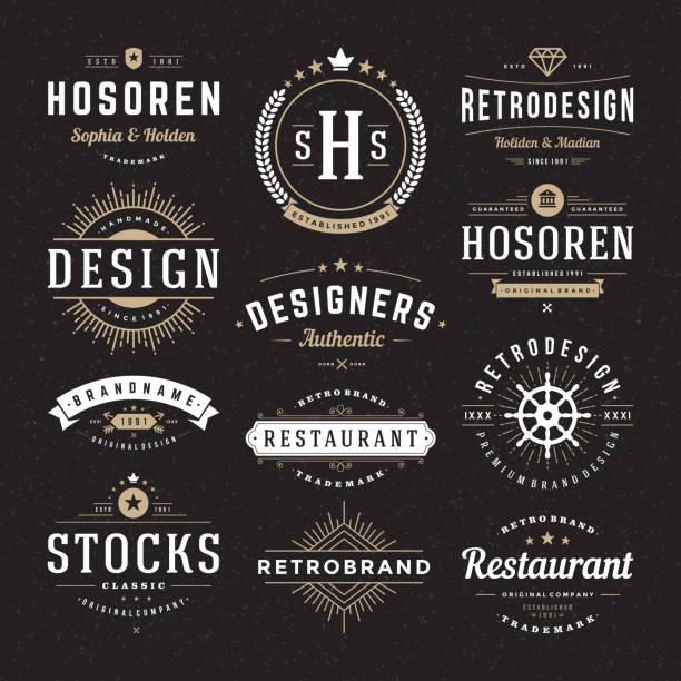 ilustrações, clipart, desenhos animados e ícones de insígnias vintage retrô ou logotypes vetor definido elementos de design - moda hipster