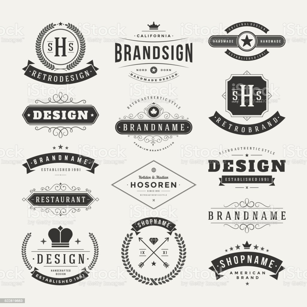 Retro Vintage Insignias or Logotypes set vector design elements vector art illustration