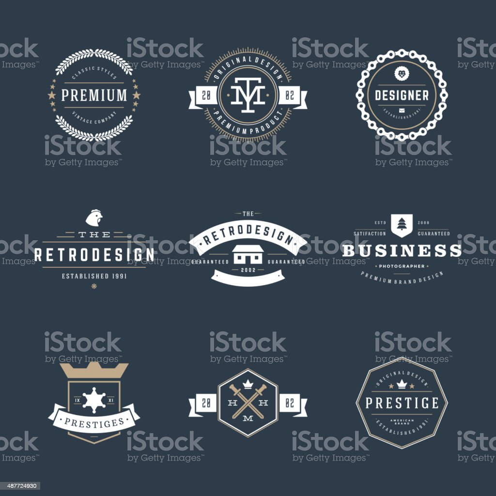 Retro Vintage Insignias or Logotypes set vector art illustration