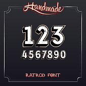 Retro Vintage Label Font. Vector Grunge Numbers