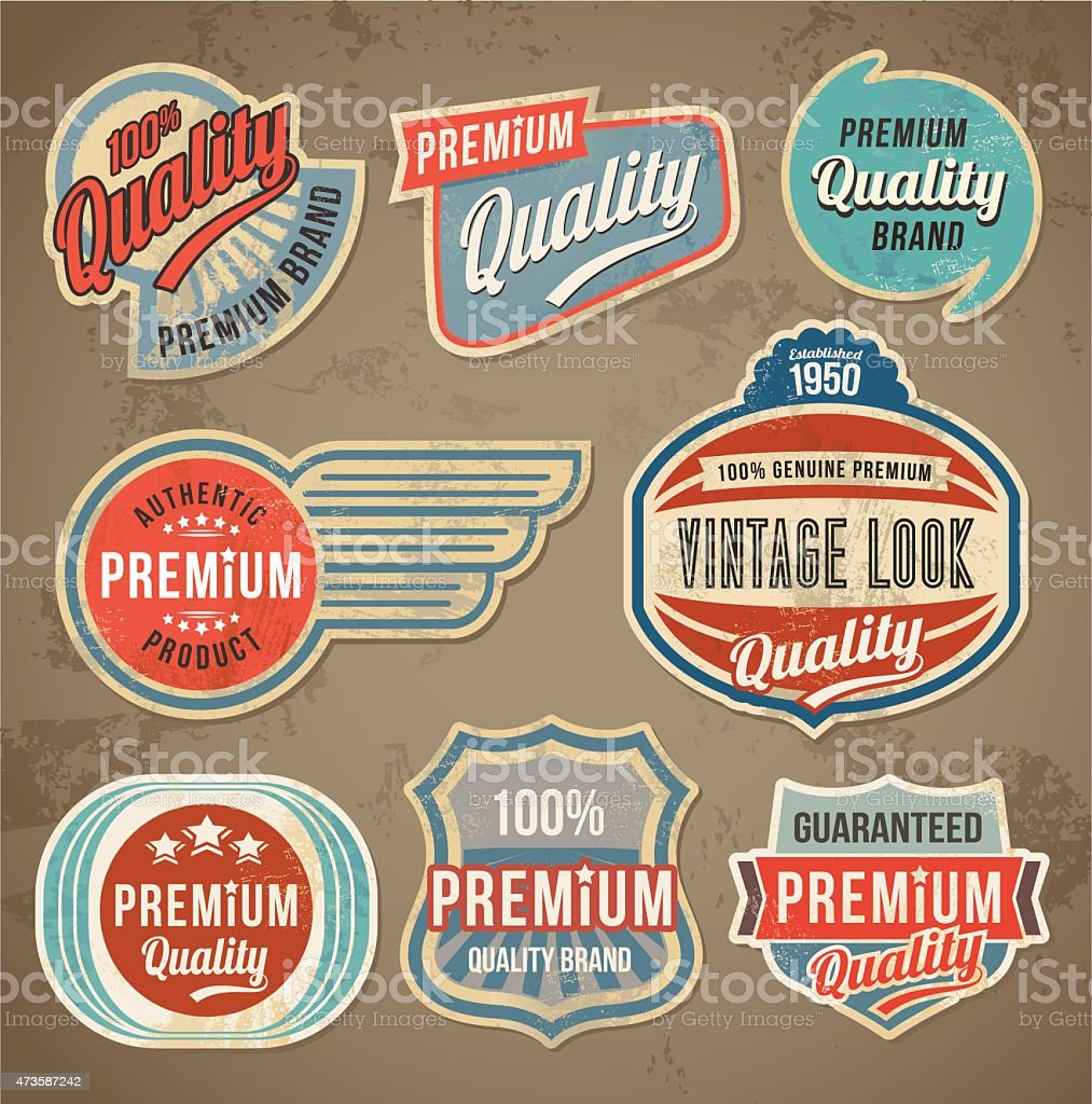 Retro vintage label set vector art illustration
