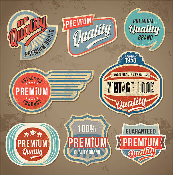 retro vintage label set - 1950s style stock illustrations, clip art, cartoons, & icons