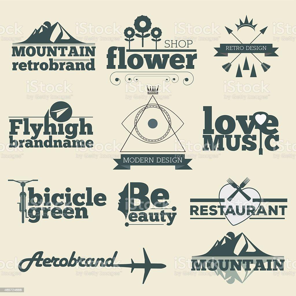 Retro Vintage Labels Logo Design Vector Typography