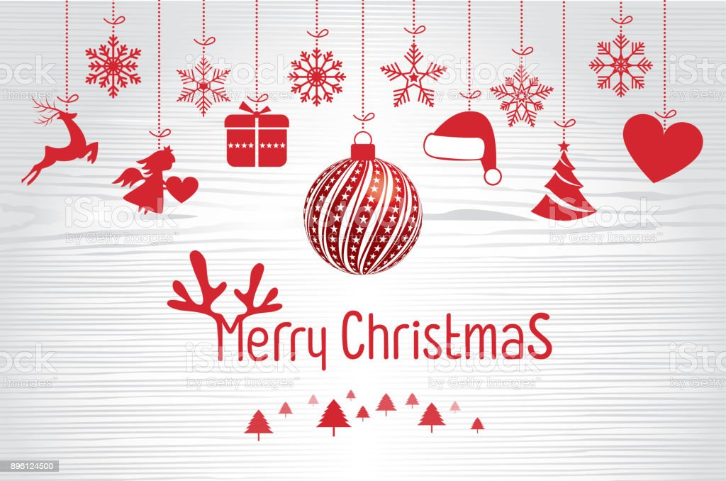 Retro Vintage Merry Christmas Greeting Card with Typography vector art illustration