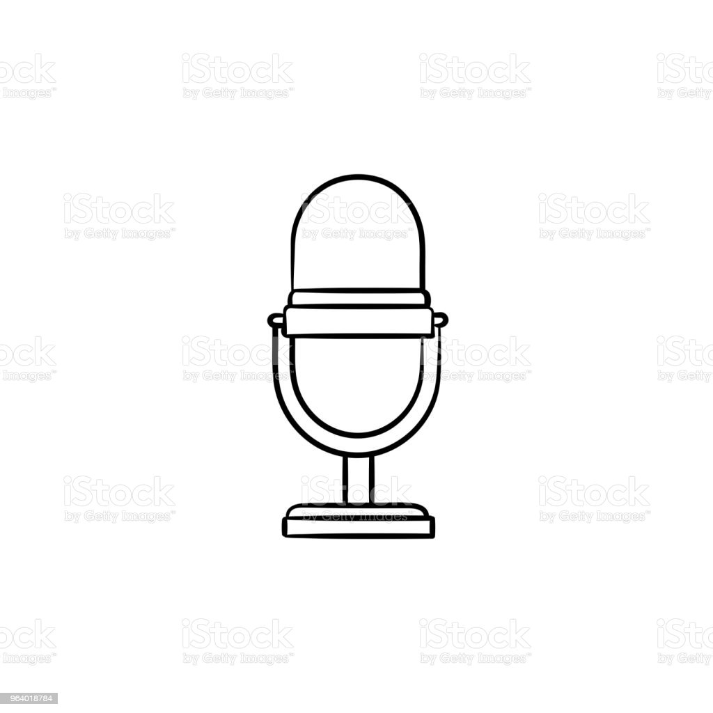 Retro vintage microphone hand drawn outline doodle icon - Royalty-free Archival stock vector