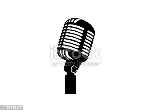 istock Retro vintage microphone vector on white background. Mic silhouette. Music, voice, record icon. Recording studio symbol. Flat stye vector illustration 1152916117