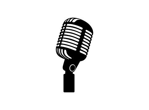 Retro vintage microphone vector on white background. Mic silhouette. Music, voice, record icon. Recording studio symbol. Flat stye vector illustration