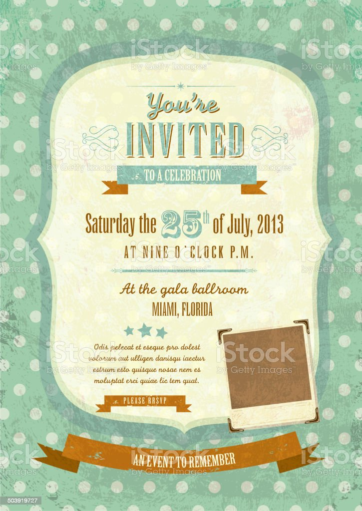 Retro vintage mint green polka dot invitation design template stock retro vintage mint green polka dot invitation design template royalty free retro vintage mint green stopboris Images