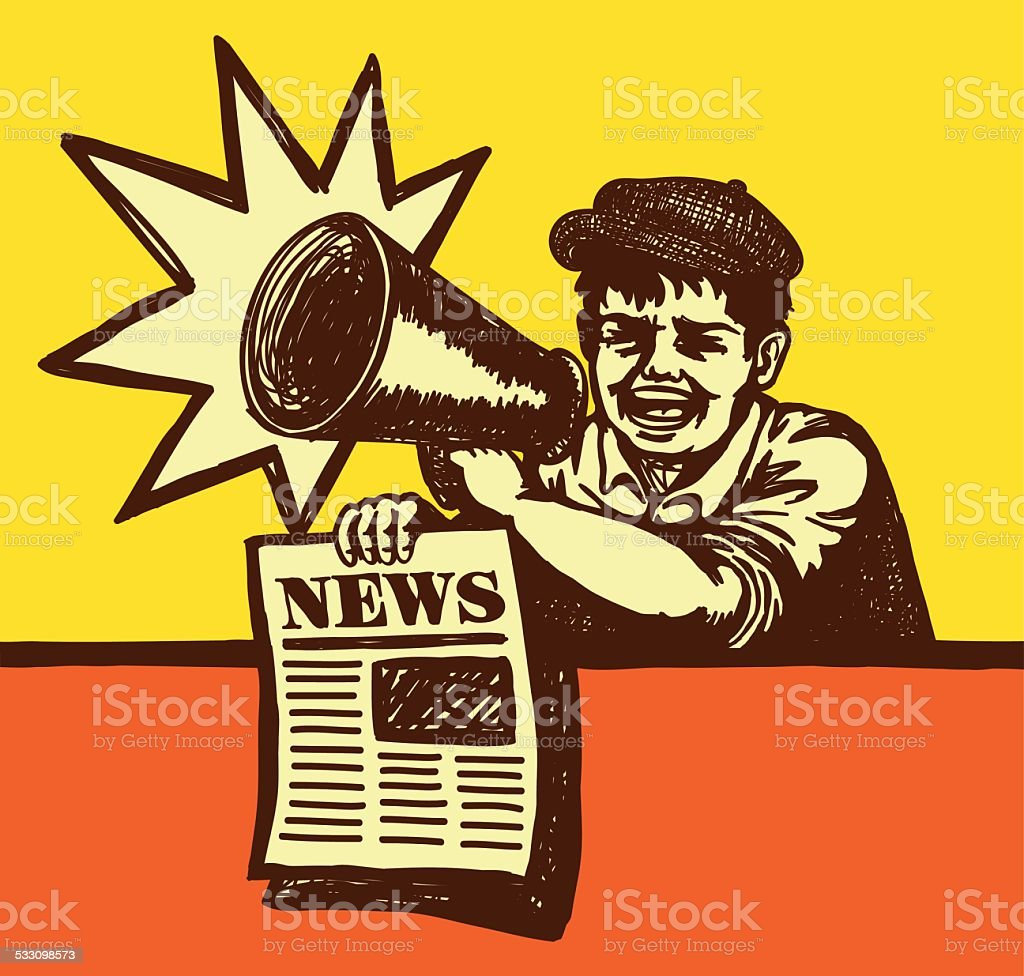 Retro vintage paperboy shouting with megaphone selling newspaper royalty-free retro vintage paperboy shouting with megaphone selling newspaper stock vector art & more images of 1920-1929