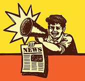 Latest news! Retro Vintage Paper boy shouting with megaphone selling newspaper vendor, Extra! Special edition!