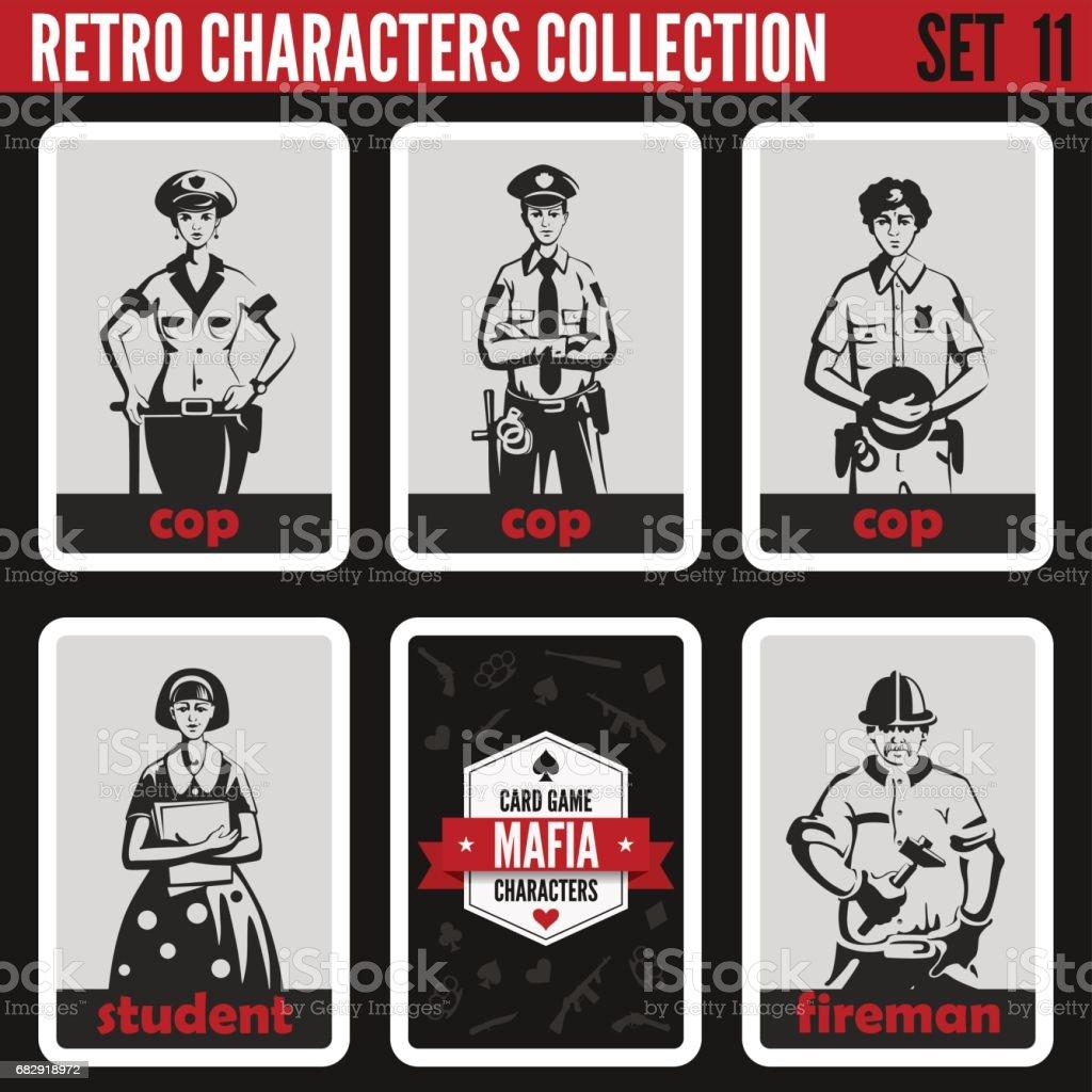 Retro vintage people collection. Mafia noir style. Cops, Student, Fireman.   Professions silhouettes. vector art illustration