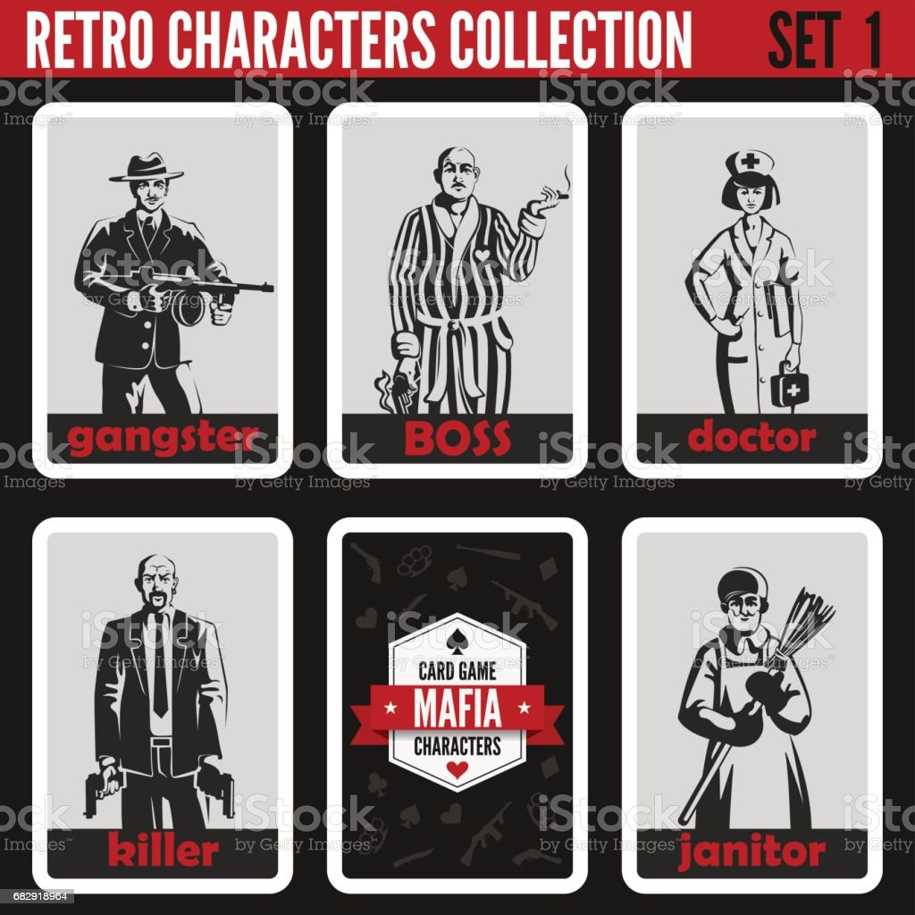 Retro vintage people collection. Mafia noir style. Gangster, Boss, Doctor, Killer, Janitor.  Professions silhouettes. vector art illustration