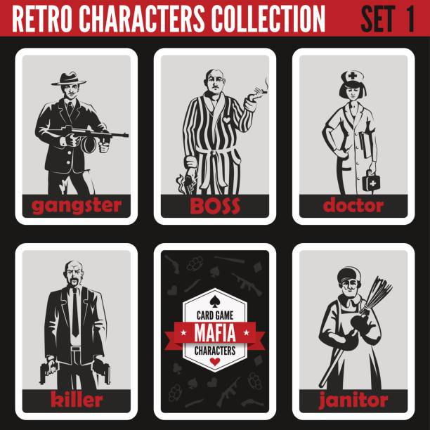 retro vintage people collection. mafia noir style. gangster, boss, doctor, killer, janitor.  professions silhouettes. - gangster stock illustrations, clip art, cartoons, & icons