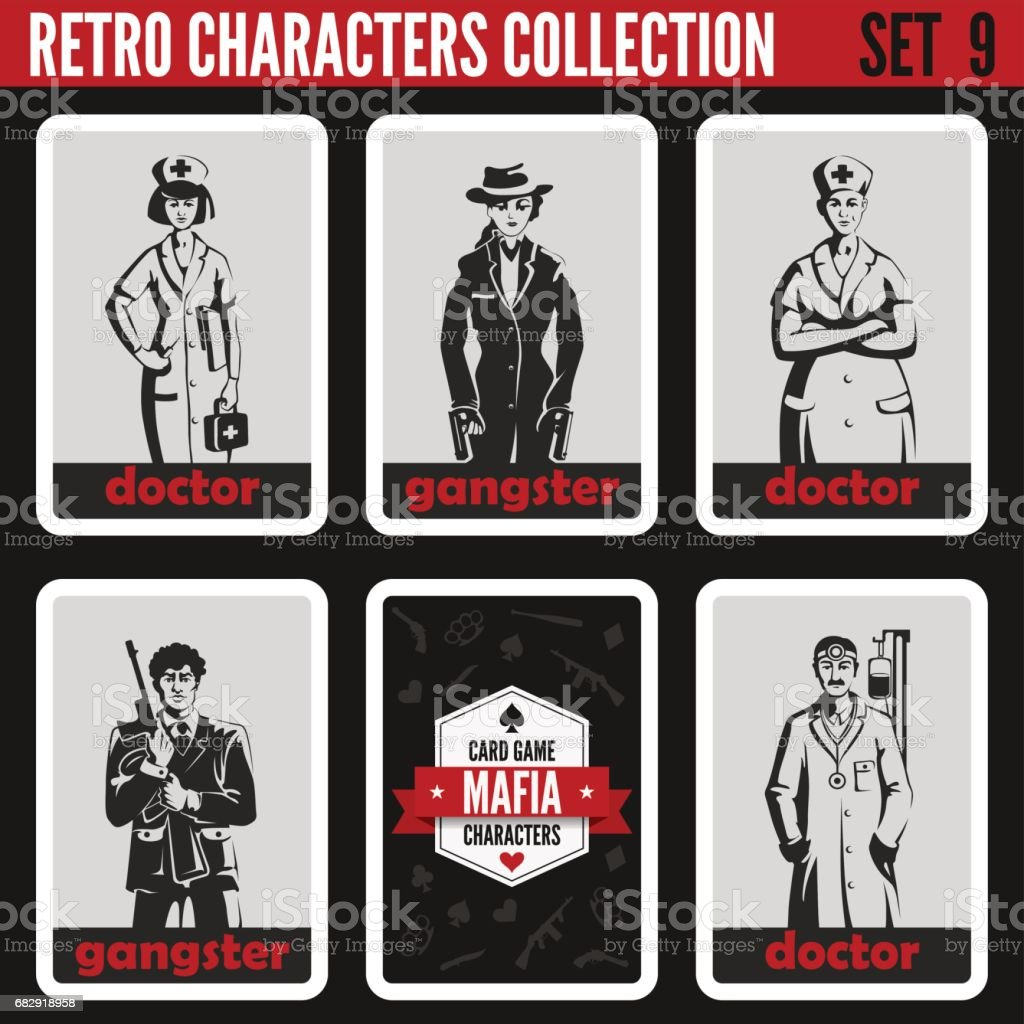 Retro vintage people collection. Mafia noir style. Gangsters, Doctors.  Professions silhouettes. vector art illustration