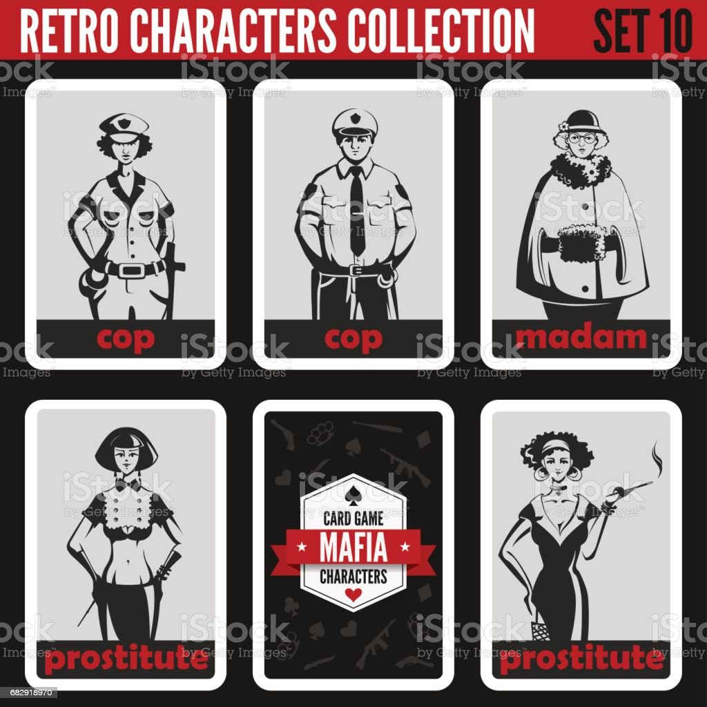 Retro vintage people collection. Mafia noir style. Madam, Prostitutes, Cops.  Professions silhouettes. vector art illustration
