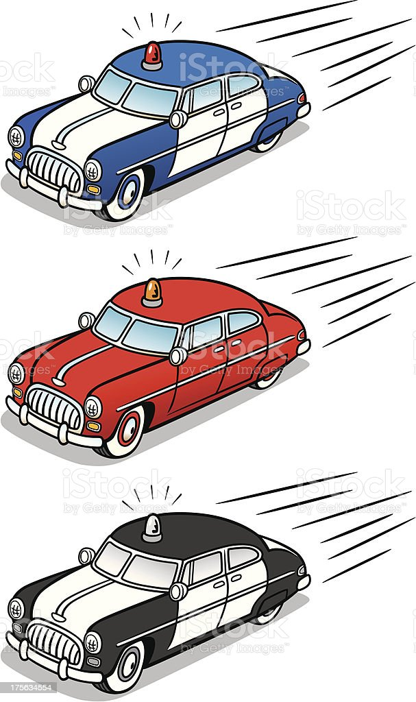 Retro Vintage Police And Fire Cars vector art illustration