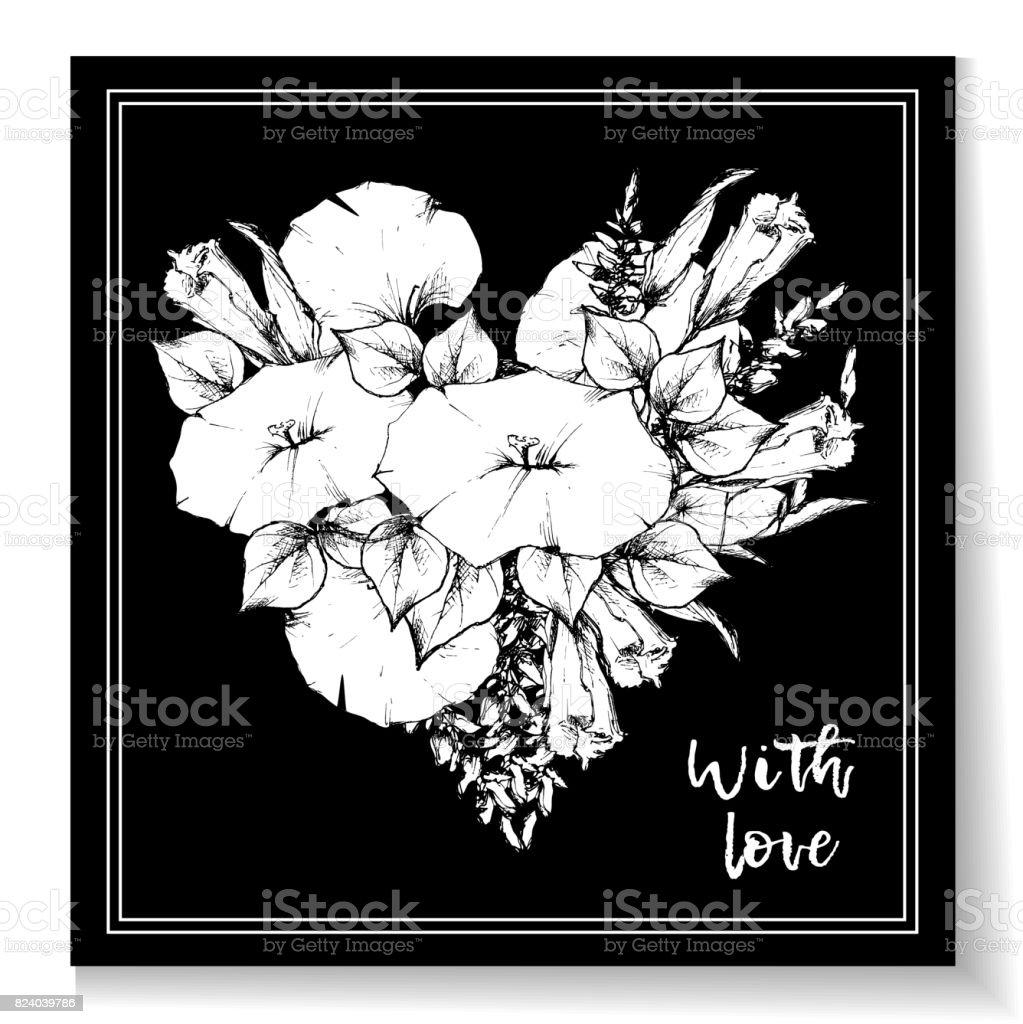 Carte Postale Vintage Retro Ou De Visite Avec Liseron Fleur Dessin