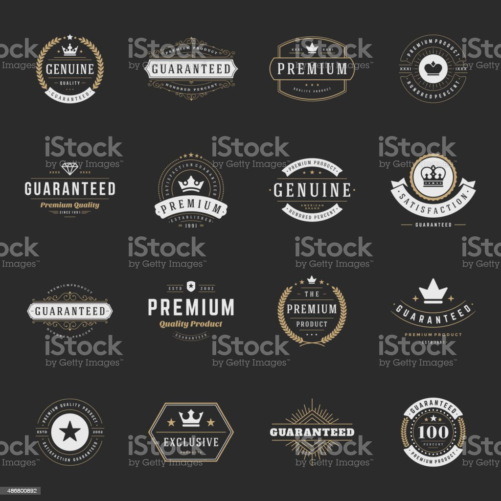 Retro Vintage Premium Quality Labels set vector art illustration