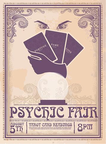 Retro vintage Psychic Fair poster advertisement design template
