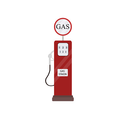Retro vintage red gas station isolated on white background