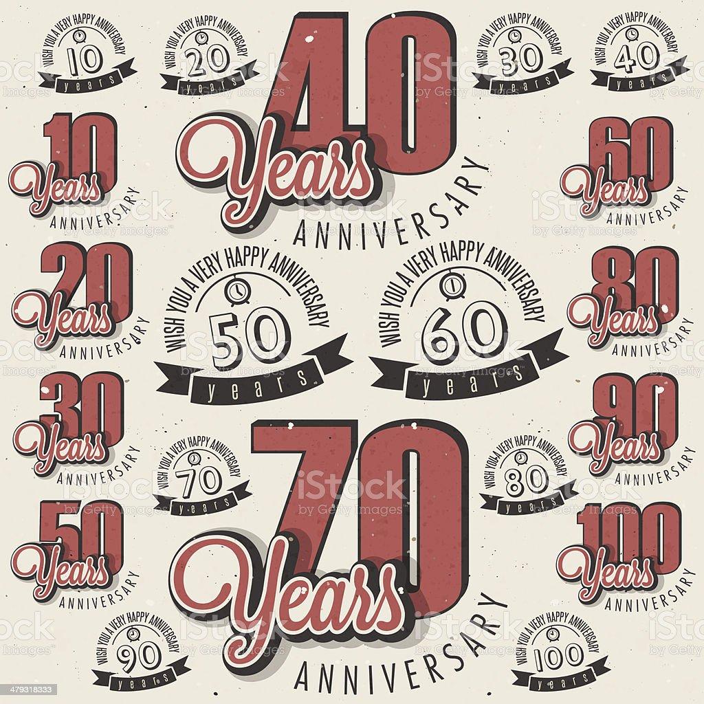 Di auguri anniversario retrò stile Vintage calligrafici collezione con carta - illustrazione arte vettoriale
