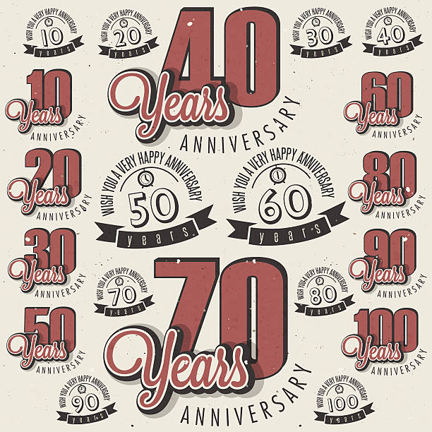 bildbanksillustrationer, clip art samt tecknat material och ikoner med retro vintage style anniversary greeting card collection with calligraphic design - 50 54 år