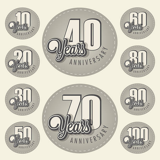 Retro Vintage style anniversary greeting card collection with calligraphic design. vector art illustration