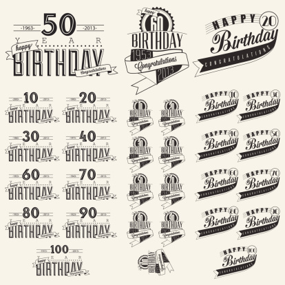Vintage calligraphic and typographic style Happy Birthday hand lettering collection.