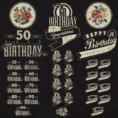 Vintage calligraphic and typographic style Happy Birthday hand lettering collection. Vector. Hungarian flowers elements.