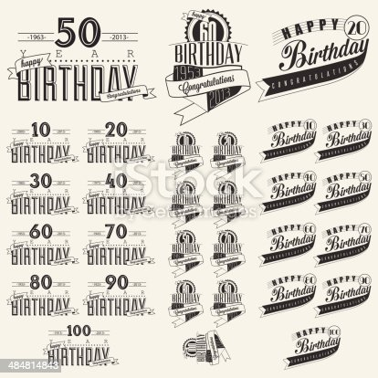 Vintage calligraphic and typographic style Happy Birthday hand lettering collection. Vector
