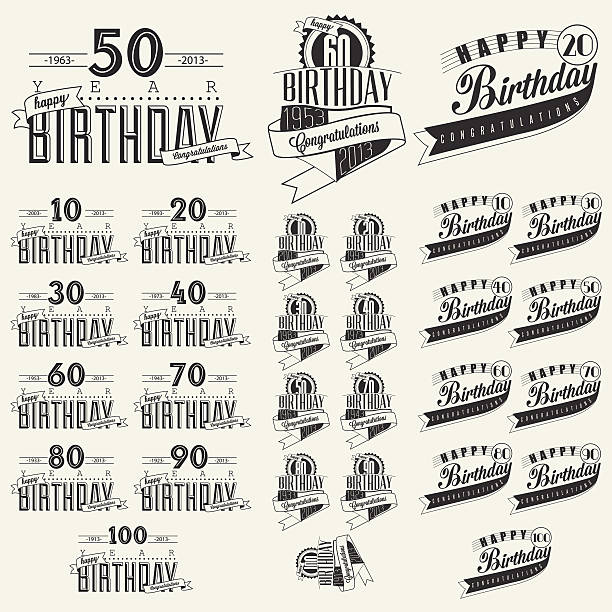 Retro Vintage style Birthday greeting card collection in calligraphic design. vector art illustration