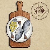 Retro vintage style Fish specialties with Cutting Board.