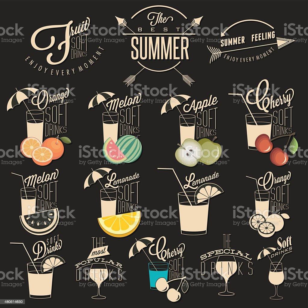Retro-vintage-Stil design alkoholfreie Getränke – Vektorgrafik
