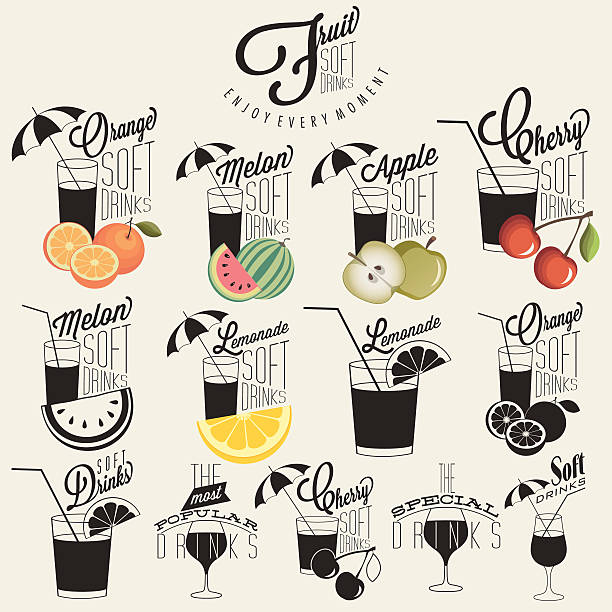 Retro-vintage-Stil, alkoholfreie Getränke-design. – Vektorgrafik
