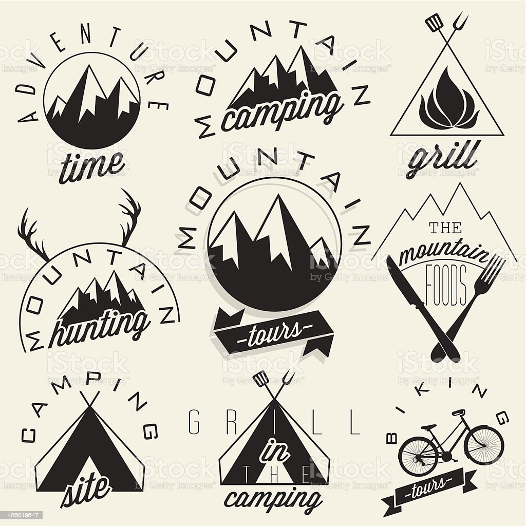 Retro vintage style symbols for Mountain Expedition vector art illustration